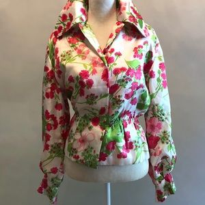 Tops - Vintage 1970's Wide Collar Homemade Blouse